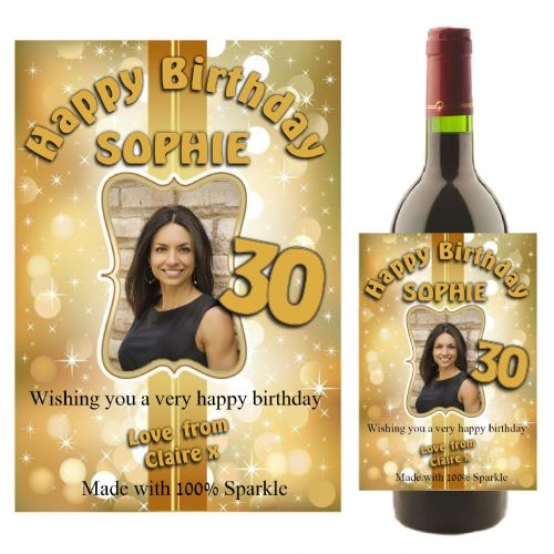 Personalised Gold Sparkle Happy Birthday Wine / Champagne Bottle PHOTO Label N20